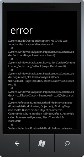 Windows Phone Error Example
